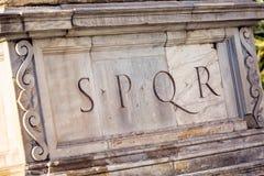 Senatus Populusque Romanus. SPQR is Senatus Populusque Romanus, official emblem of modern-day Rome and classic symbol of Ancient Rome, phrase found all over city Stock Photos