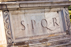 Senatus Populusque Romanus. SPQR is Senatus Populusque Romanus, official emblem of modern-day Rome and classic symbol of Ancient Rome, phrase found all over city Royalty Free Stock Photography