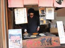 Senbei hecho a mano, la receta dulce japonesa fotografía de archivo