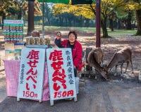 Senbei stall in Nara stock photos