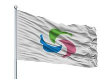 Senboku miasta flaga Na Flagpole, Japonia, Akita prefektura, Odizolowywająca Na Białym tle ilustracja wektor