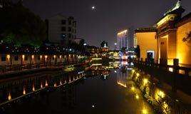 sences de nuit de rue de Yishang dans Huzhou Image libre de droits
