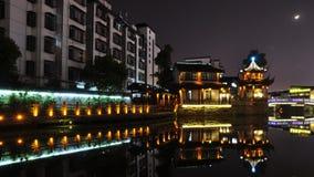 sences di notte della via di Yishang in Huzhou Fotografia Stock