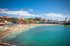 Send beach Playa de las Americas on Tenerife, Spain. Royalty Free Stock Photography