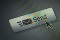 Send button and a hand mouse cursor Stock Photo