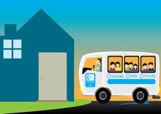 Send Children Back Home_eps. Illustration of home, vehicle, driver and children Stock Photo