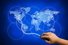 Send e-mail to the world for communication concept. Send e-mail to the world Royalty Free Stock Photo