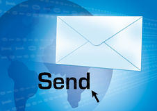 Send email. Email concept with globe in the background Royalty Free Stock Photo