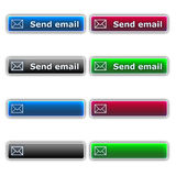 Send email buttons. Four Varicoloured send email buttons vector illustration