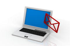 Send email envelope in a laptop Royalty Free Stock Photography