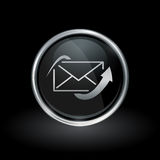 Send email icon inside round silver and black emblem Royalty Free Stock Photos