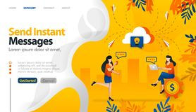 Send instant messages, send messages to storage, cloud storage for conversations vector illustration concept can be use for, landi. Ng page, template, ui ux, web royalty free illustration