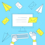 Send a letter, email marketing. Campaign concept. Line art illustration Royalty Free Stock Image