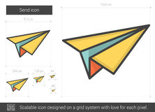 Send line icon. Send vector line icon on white background. Send line icon for infographic, website or app. Scalable icon designed on a grid system stock illustration