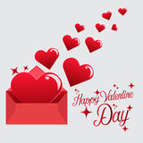 Send Love Heart in Valentine Day. Vector card Happy Valentine Day Send Heart Stock Photography