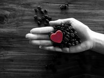 Send love to your coffee, Coffee In My Heart royalty free stock photography