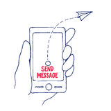 Send Message from Cell Phone in a Hand, Vector Illustration Royalty Free Stock Photography