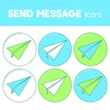 Send message line design icon, paper plane set. Royalty Free Stock Photos