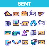 Send Message Linear Vector Thin Icons Set royalty free illustration