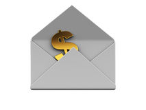 Send money. 3d illustration of mail envelope with dollar sign inside Stock Images