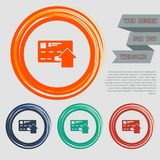 Send money with credit card icon on the red, blue, green, orange buttons for your website and design with space text. Illustration Royalty Free Stock Photography