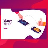 Send money low-cost fee flat vector neon illustration for ui ux web and mobile design with text and button. stock illustration