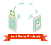 Send money wireless isometric illustration. Royalty Free Stock Image