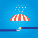 Send open umbrella to other hand for protect rain Stock Photo