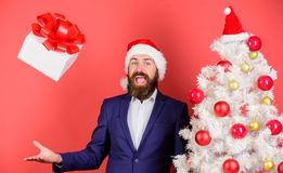 Free Send Or Receive Christmas Present. Man Bearded Hipster Formal Suit Happy Celebrate Christmas. Gift Box With Festive Royalty Free Stock Photography - 135113247
