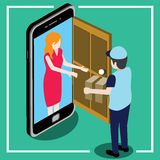 Send parcel front the door that looks like a smart phone Royalty Free Stock Image