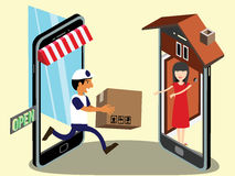 Send parcel from mobile to front the home. Door that looks like a smart phone and gives the parcel to the customer Stock Photography