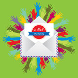 Send and receive communication for email marketing. Letter envelope and hands representing the receiving e-mail marketing in the digital world Royalty Free Stock Photography