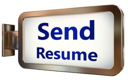 Send Resume on billboard background. Send Resume wall light box billboard background , isolated on white Royalty Free Stock Images