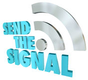 Send the Signal Streaming Message 3D Words Digital Transmission Stock Images