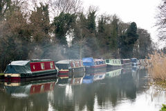 SEND, SURREY/UK - MARCH 25 : Narrow Boats moored on the River We. Y Navigations Canal at Send in Surrey on March 25, 2015 Stock Image