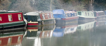 SEND, SURREY/UK - MARCH 25 : Narrow Boats moored on the River We. Y Navigations Canal at Send in Surrey on March 25, 2015 Stock Photo