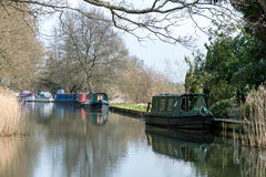 SEND, SURREY/UK - MARCH 25 : Narrow Boats on the River Wey Navig. Ations Canal at Send in Surrey on March 25, 2015 Royalty Free Stock Images