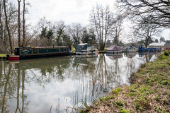 SEND, SURREY/UK - MARCH 25 : Narrow Boats on the River Wey Navig. Ations Canal at Send in Surrey on March 25, 2015 Stock Photography