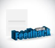 Send us feedback paper sign illustration Royalty Free Stock Images