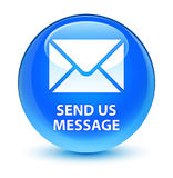 Send us message glassy cyan blue round button Stock Photos