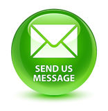 Send us message glassy green round button Royalty Free Stock Photography