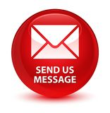 Send us message glassy red round button Royalty Free Stock Photos