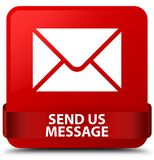 Send us message red square button red ribbon in middle Royalty Free Stock Photos
