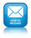 Send us message special cyan blue square button Stock Image