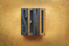 Send. The word SEND written in vintage letterpress type Royalty Free Stock Photo