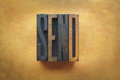 Send. The word SEND written in vintage letterpress type royalty free stock photo