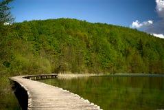 Senda para peatones sobre el lago claro de la montaña en parque nacional Fotografía de archivo libre de regalías