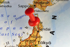 Sendai, Japan pinned map. Copy space available stock photo