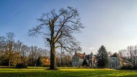 Senden Coesfeld, Munsterland December 2017 - Watercastle Wasserschloss Schloss Senden under solig dag i vinter Royaltyfri Foto