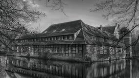 Senden, Coesfeld, Musterland December 2017 - Watercastle Wasserschloss Schloss Senden tijdens zonnige dag in de Winter Royalty-vrije Stock Foto